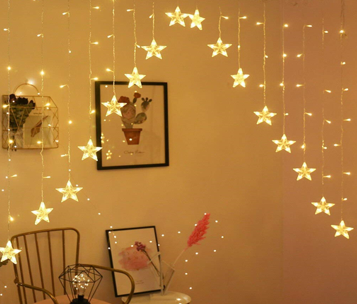 This image consists of Christmas look LED Star Curtain Light.